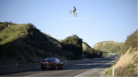 Motorcross Racer Jumps Over Freeway