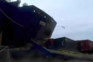 Massive Ship Crashes Into Port In Dominican Republic