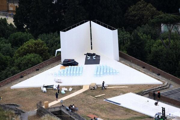 Setting up at Forte di Belvedere in Florence, Italy