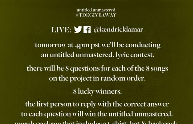 "Lyric contest flyer for Kendrick Lamar's ""untitled unmastered"""